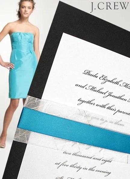 Black and Tiffany Blue Wedding Invitations DIY