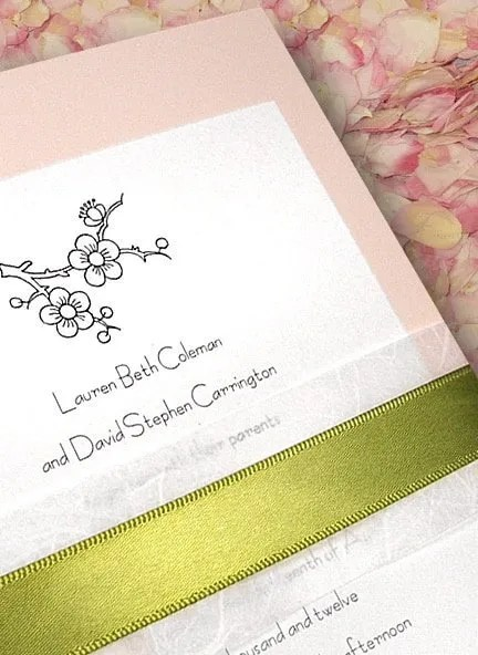 Pale Pink Wedding Invitations with Moss Satin Ribbon