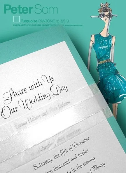 Turquoise Wedding Invitations with White Satin Wrap