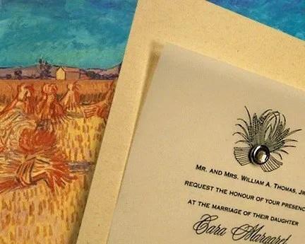 Elegant Wheat Themed Wedding Invitations