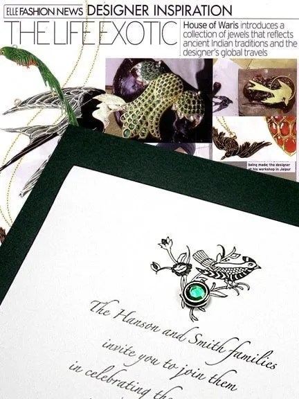 Emerald Wedding Invitations with Crystal Brad