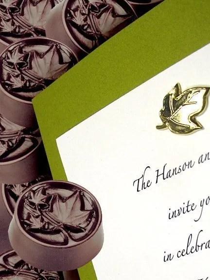 Apple Green Wedding Invitations with Maple Leaf Brad