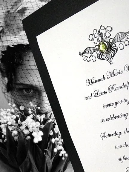 Vintage Lily of the Valley Wedding Invitations with Crystal Brad