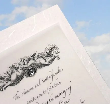 Wedding Invitations with Handmade Paper and Crystal Brad