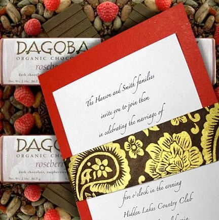 DIY Red Wedding Invitation with Gold Floral Wrap