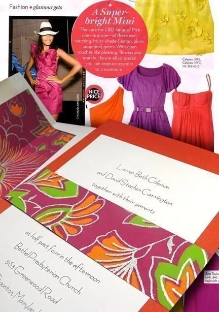 Orange and Hot Pink Wedding Invitations with Floral Wrap