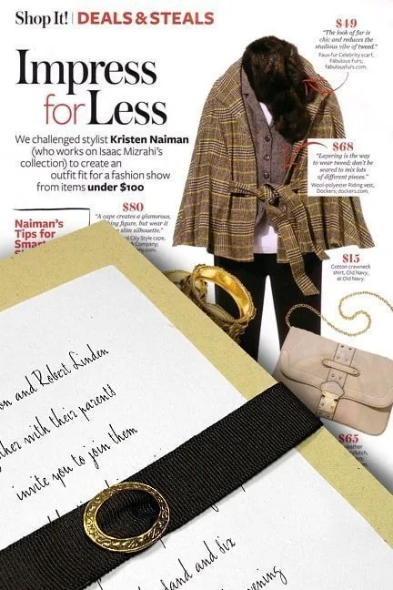 DIY Fall Wedding Invitations with Ribbon Belt and Brass Buckle