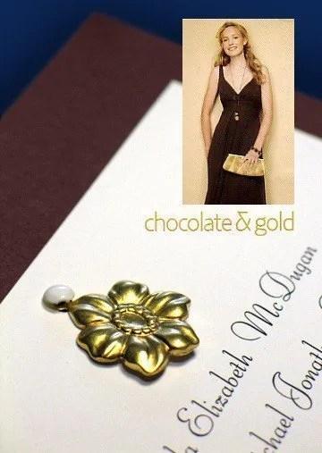 DIY Wedding Invitations with Floral Metal Charm