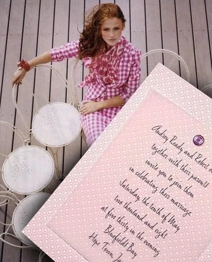 Modern DIY Pink Wedding Invitations with Crystal Brad