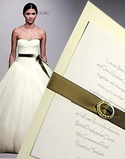 DIY Cream Wedding Invitation with Chic Satin Belt