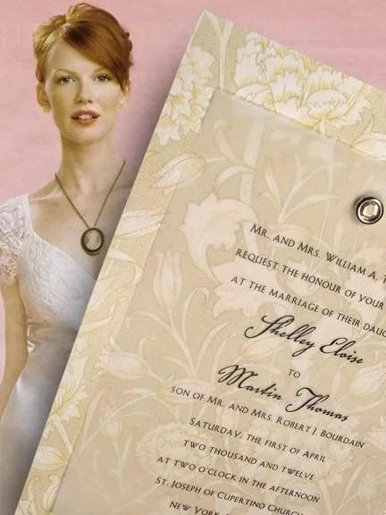 Elegant Victorian Wedding Invitations with Crystal Citrine Brad