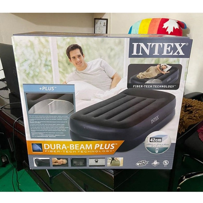 intex twin pillow rest raised inflatable airbed with built in air pump