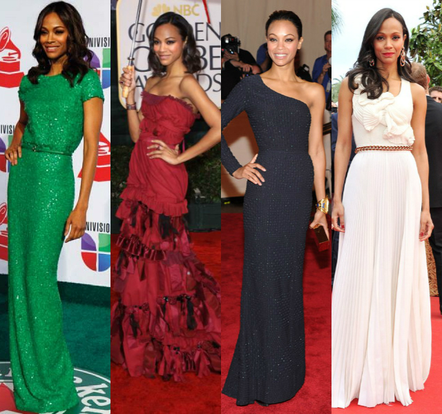 Zoe Saldana red carpet dresses