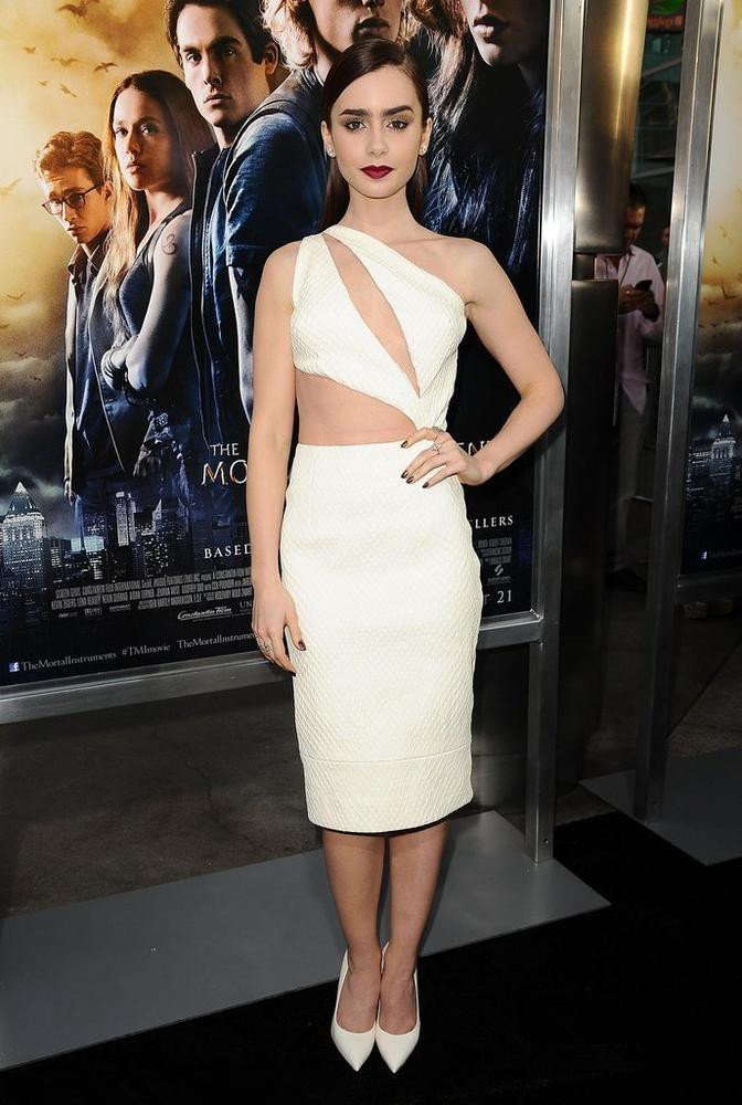 Lily Collins white one shoulder sexy evening dress.jpg