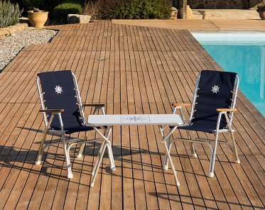 boat chairs folding deck for good posture aluminium chair m150nb forma marine aluminum high back with teak or iroko armrests navy blue