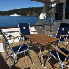 Marine Deck Chairs Genuine Leather Recliner Folding Aluminium Boat Chair M150nb Forma Aluminum High Back With Teak Or Iroko Armrests Navy Blue