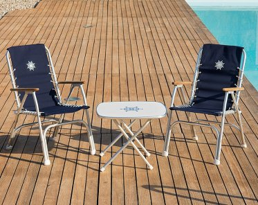 boat chairs folding deck wedding chair covers loughborough aluminum m150bl forma marine high back with teak or iroko armrests black