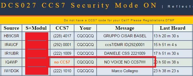 Notizie per gli utenti DSTAR – DCS027 getrennt