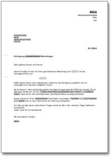 Kndigung Mietvertrag Mieter Nachmieterangebot  AT Musterbrief Download