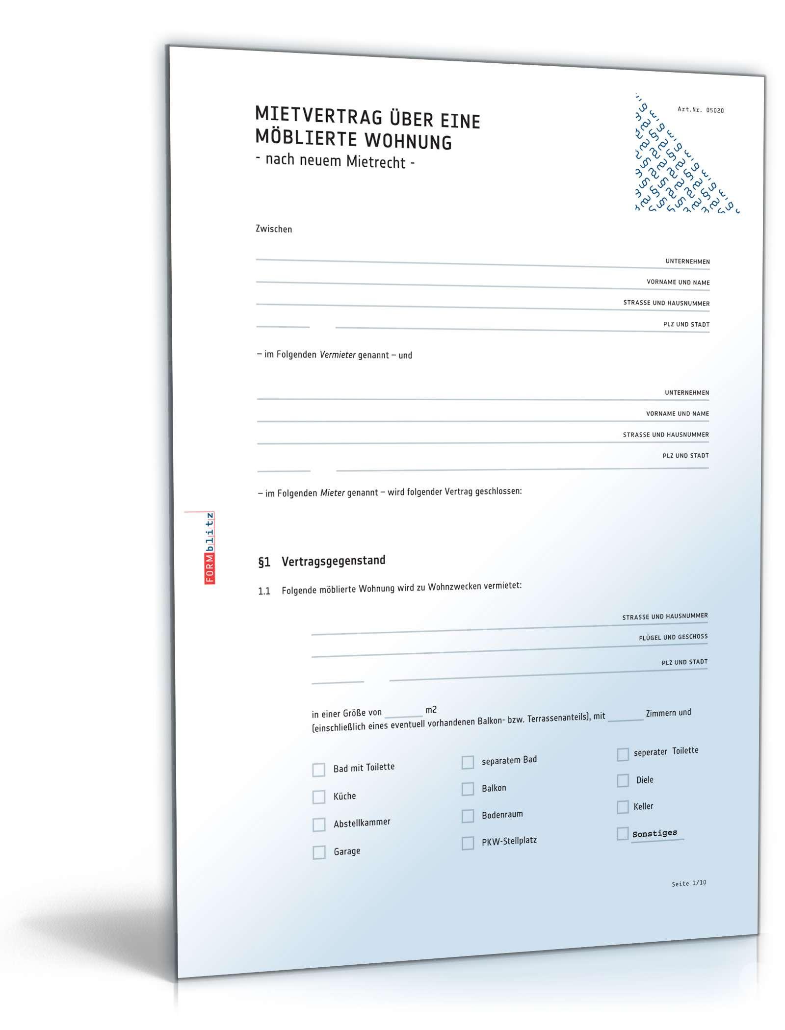 Mietvertrag mblierte Wohnung Muster zum Download