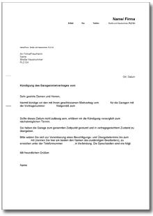 Kndigung Garagenmietvertrag fristgem Vermieter  DE