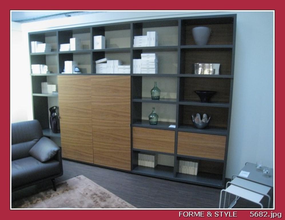 bibliotheque carre la sala avec meuble tv integre avec portes coulissantes laque antracita noyer 360 x 38 x 236 cm