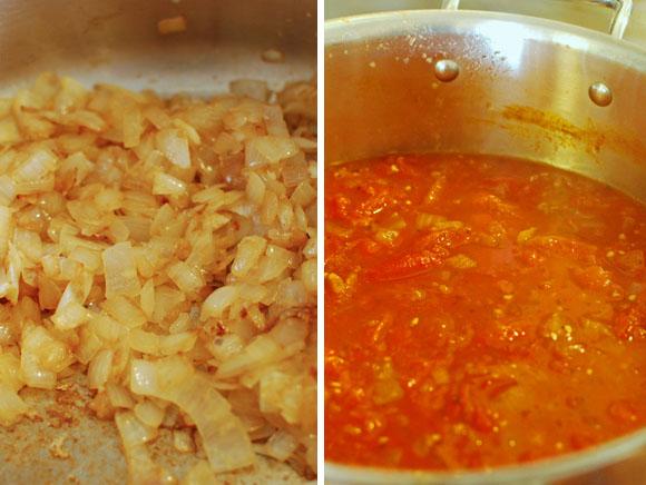Cooking marinara sauce
