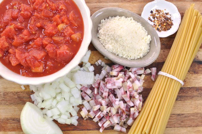 Ingredients for Amatriciana Pasta