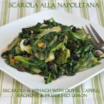 Escarole and Spinach with Olives, Capers, Anchovy and Preserved Lemon