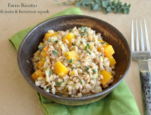 Farro Risotto with Leeks and Butternut Squash