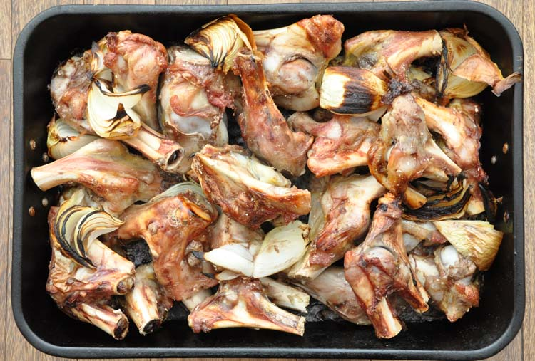 Veal Stock Bones after roasting