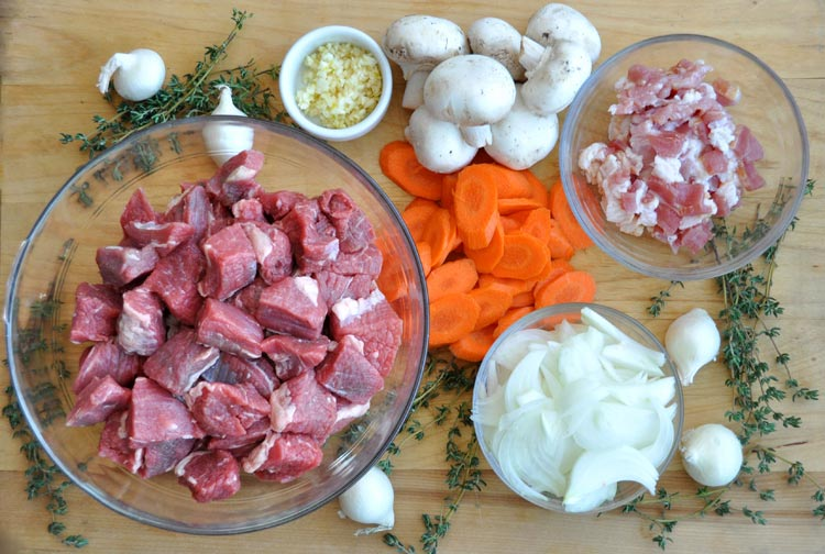 Beef Bourguignon ingredients.