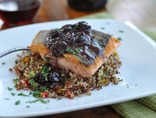 Pan Roasted Salmon with Pinot Noir Cherry Sauce