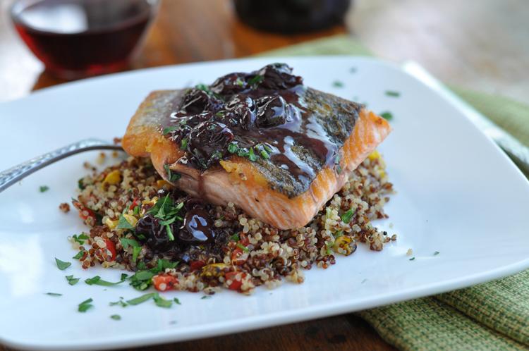 Pan Roasted Salmon with Pinot Noir Cherry Sauce