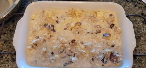 Panettone bread pudding with custard mix before baking