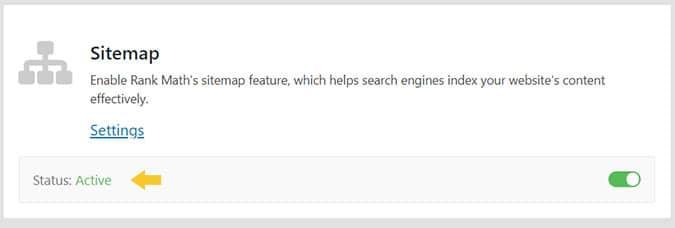 Analisi SEO: test della presenza della sitemap in Rank Math plugin SEO