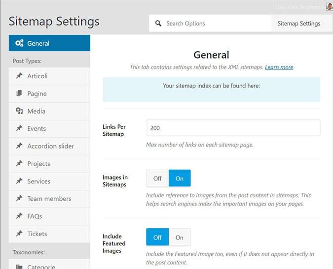 Configurazione della Sitemap di un sito