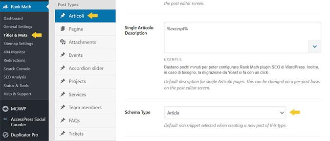impostare il tipo di schema org per i tuoi contenuti con Rank Math plugin SEO