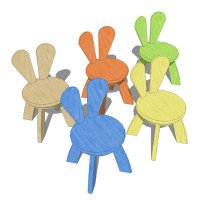 Kids Rabbit chairs and tables 3D Model