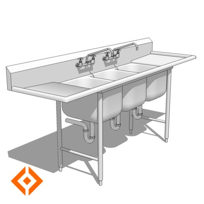 kitchen sinks with drain boards update cost estimate comm sink 3d model - formfonts models & textures