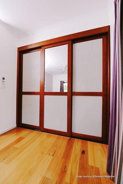 3 door mesh and timber wardrobe cupboard doors