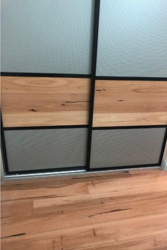 Linen Cupboard Mesh Panels & Floating Timber Floor Boards Bottom View
