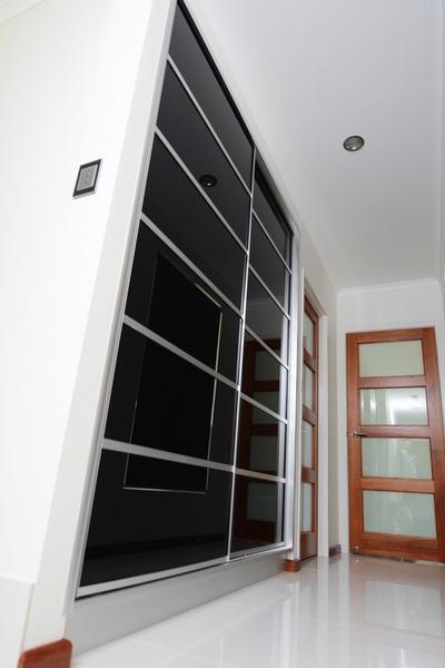 Hallway Sliding Door Cupboard Black Glass Multi Panel Cupboard