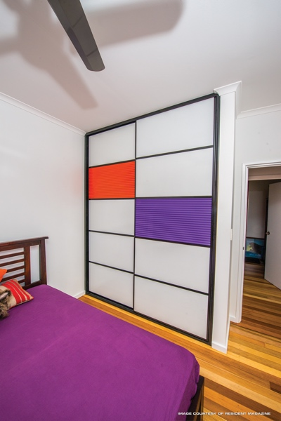 Mondrian Inspired Sliding Doors with Purple and Orange