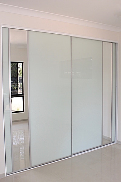 Wardrobe doors, white decor glass, featuring two dress mirrors 2750 wide