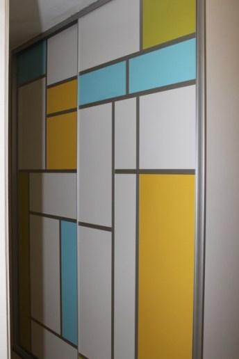Hallway Linen Cupboard Mondrian Inspired Sliding Doors