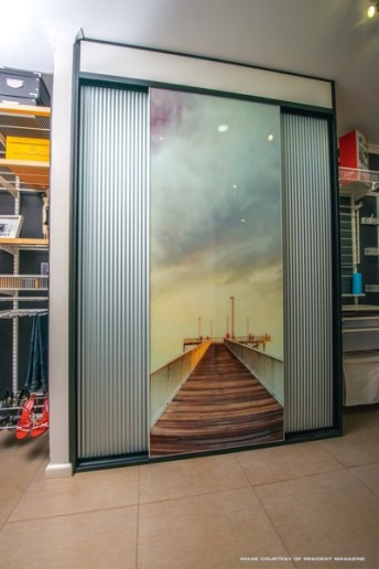 Sliding Doors with Nightcliff Jetty photo printed on glass