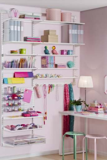 bedroom shelving for hobbies