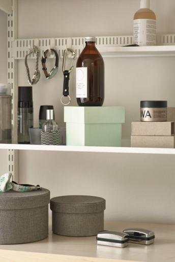 elfa wardrobe shelving showing utility shelving & peg board