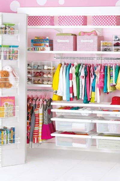 Wardrobe storage for girls room